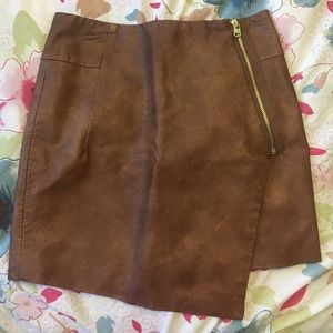Asymmetrical Brown Faux Leather Skirt!